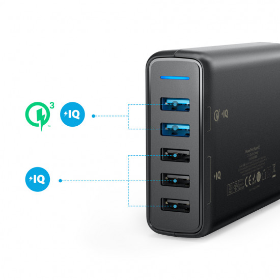 Anker PowerPort Speed 5 with 2 x QC USB Charger