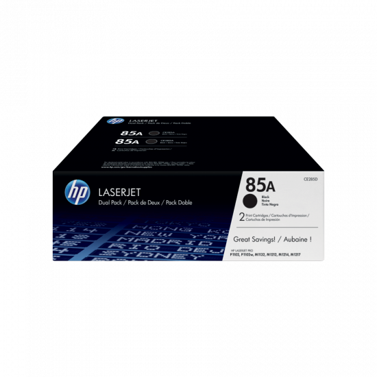 HP CE285AD Black Toner Cartridge Dual Pack (85A)