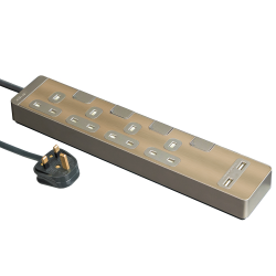 Schneider施耐德 AvatarOn Extend 4 gang 2 USB Power Strips (Metal golden hairline)