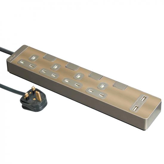 Schneider施耐德 AvatarOn Extend 4 gang 2 USB Power Strips (Metal golden hairline)