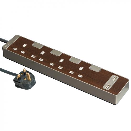 Schneider施耐德 AvatarOn Extend 4 gang 2 USB Power Strips (Wood)
