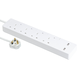 Schneider施耐德 AvatarOn Extend 4 gang 2 USB Power Strips (White)