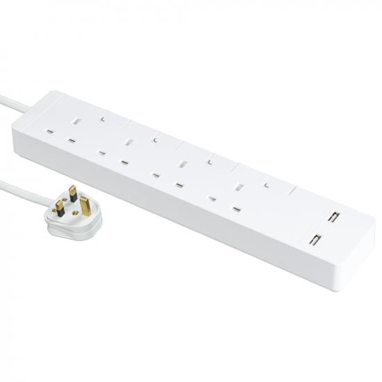 Schneider施耐德 AvatarOn Extend 4 gang 2 USB Power Strips (White)