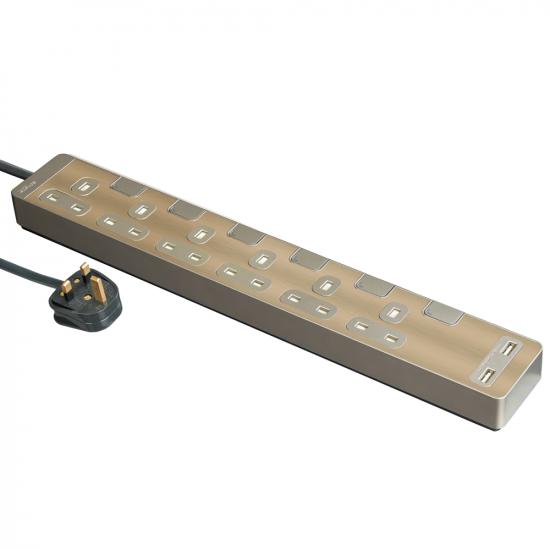 Schneider施耐德 AvatarOn Extend 6 gang 2 USB Power Strips (Metal golden hairline)