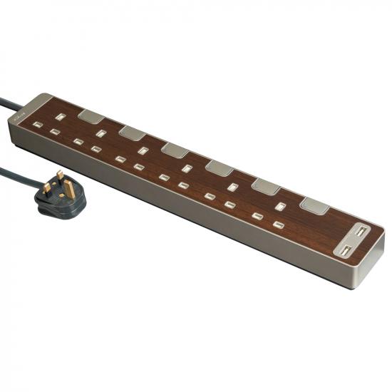 Schneider施耐德 AvatarOn Extend 6 gang 2 USB Power Strips (Wood)