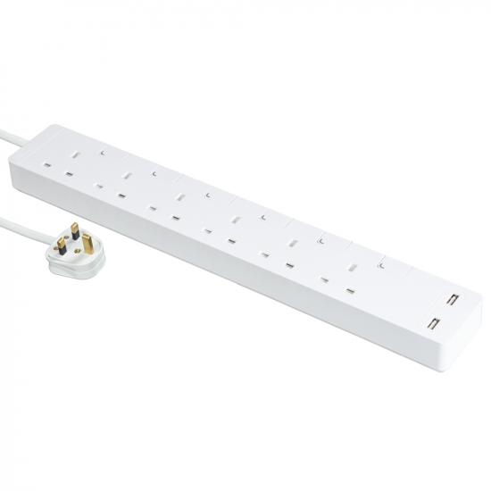 Schneider施耐德 AvatarOn Extend 6 gang 2 USB Power Strips (White)