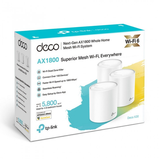 TP-LINK Deco X20 AX1800 Mesh WiFi 6 System (3-pack)