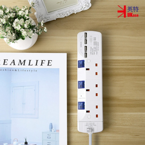 UKase SU883U4 3-Outlets 2M Power Strip with 4 USB