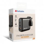 Verbatim 3 Port 65W PD 3.0 & QC 3.0 GaN USB Charger