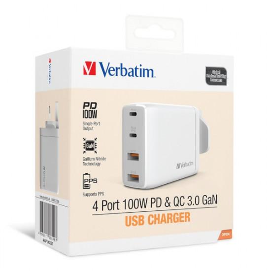 Verbatim 4 Port 100W PD 3.0 & QC 3.0 GaN USB Charger